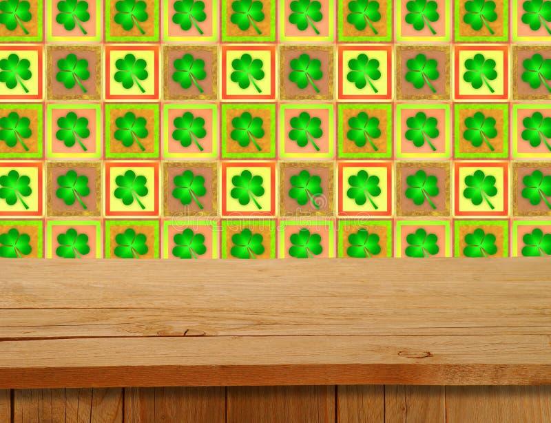 dagpatrick s saint Tom trädäcktabell över växt av släktet Trifoliummotiv arkivfoto