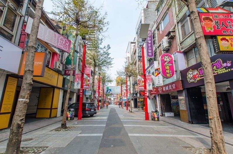 Dagplats av Ximendingen, Taiwan arkivbild