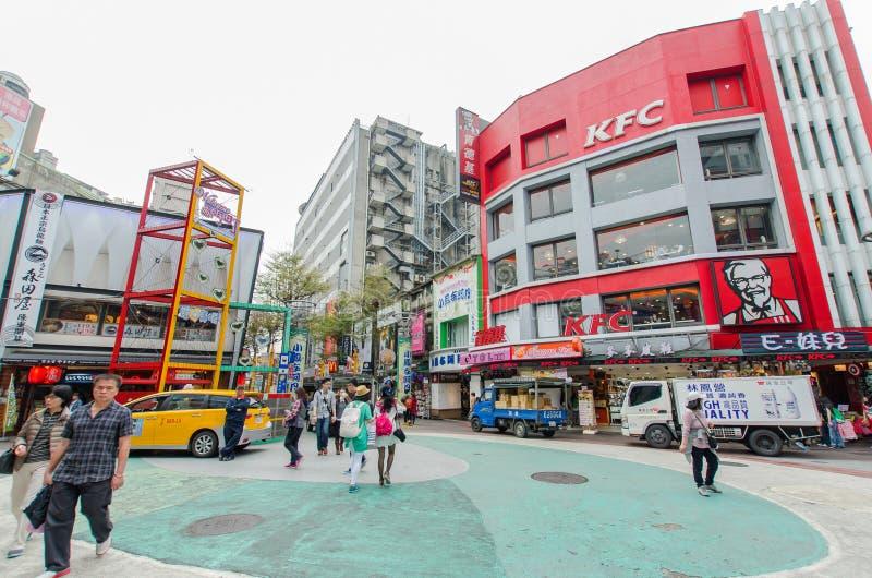 Dagplats av Ximendingen, Taiwan fotografering för bildbyråer