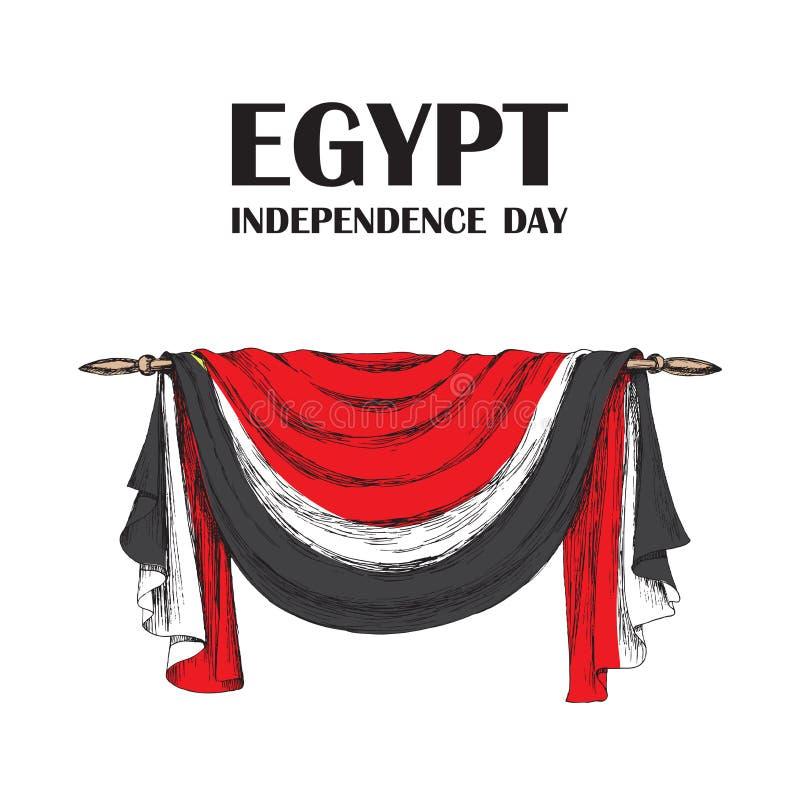 Dagrevolution i Egypten Juli 23rd Nationell självständighetsdagen i Afrika Förhängen av tyget, garneringen för vektor illustrationer
