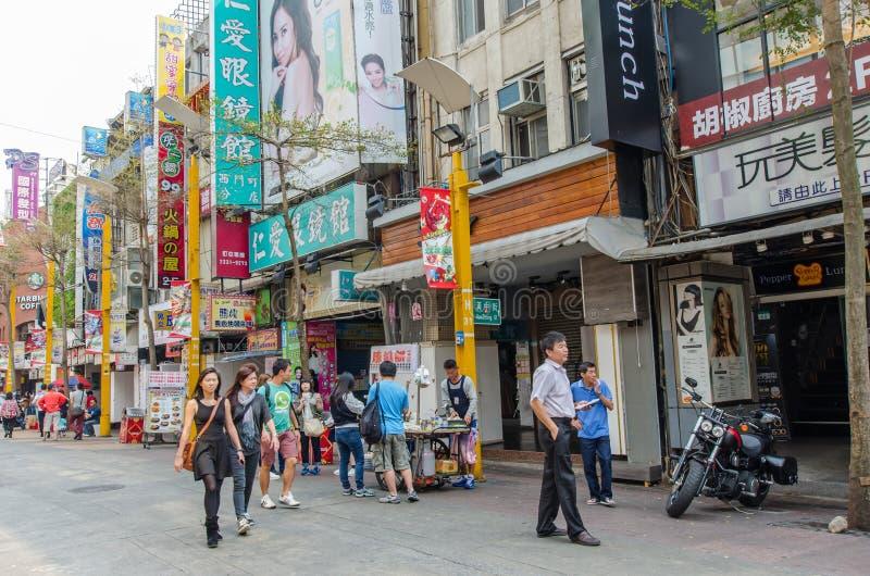 Dagscène van Ximending, Taiwan stock afbeelding
