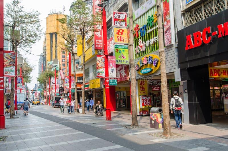 Dagscène van Ximending, Taiwan stock afbeeldingen
