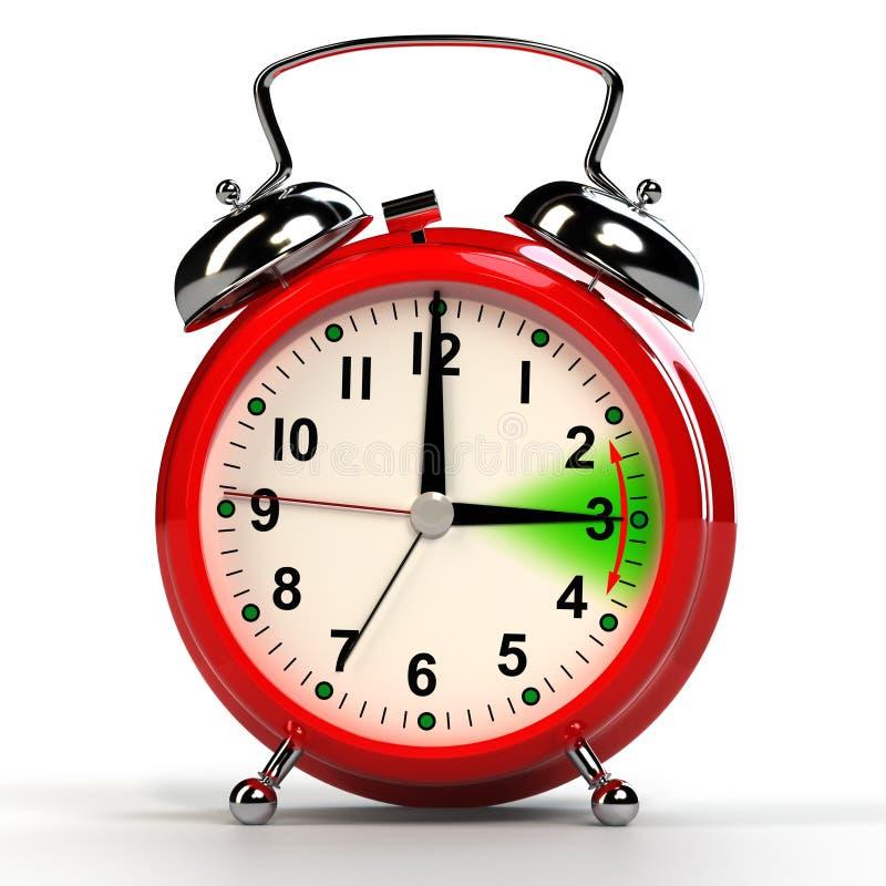 Dagsljus som sparar det Tid begreppet isolerad white för alarmbakgrund klocka 3d stock illustrationer