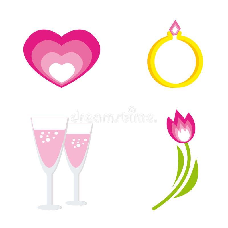 dagsymboler ställde in st-valentinen stock illustrationer