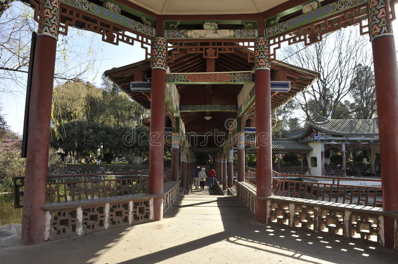 Daguanlou Park, Kunming. Pavilion path at the Daguanlou Park in Kunming, province Yunnan, South-West China stock image
