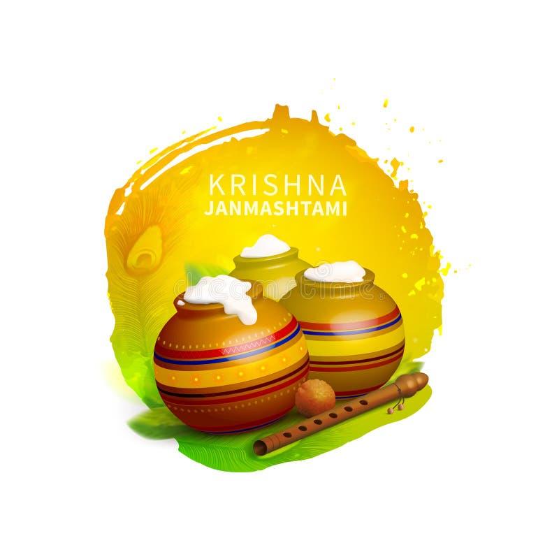 Dahi HANDI no festival de Krishna Janmashtami Indian O nascimento do deus Krishna Fundo abstrato da aguarela Molde para ilustração royalty free