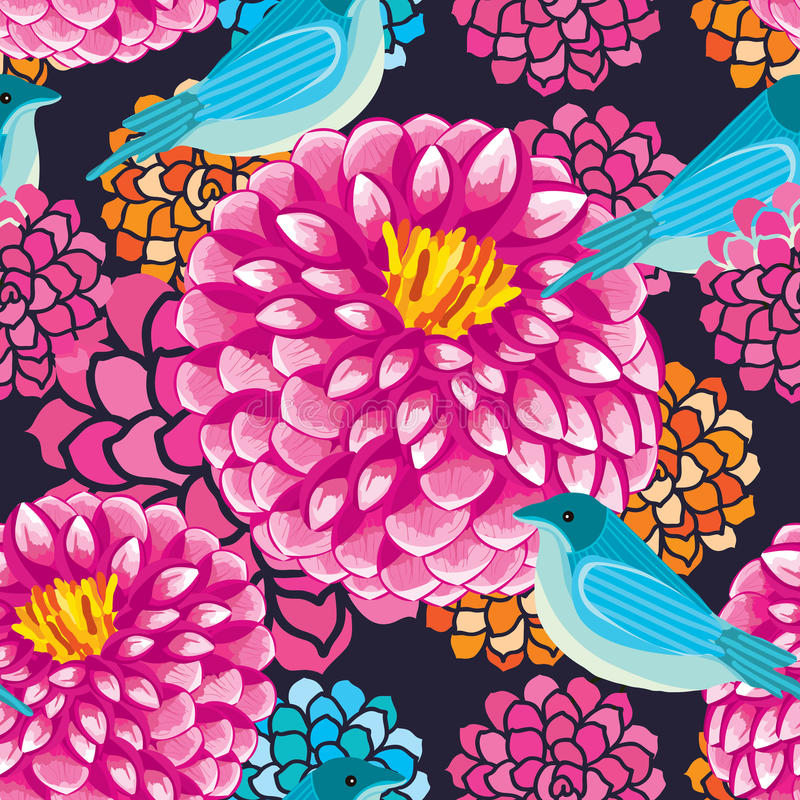 Free Dahlia Bird Seamless Pattern Stock Photos - 48356073