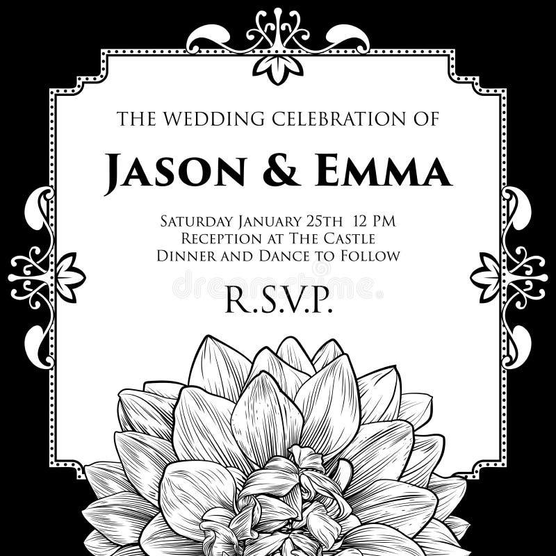 Dahlia or Chrysanthemum Wedding Invite Template. A wedding invitation invite save the day template with a single dahlia or chrysanthemum woodcut flower in a royalty free illustration