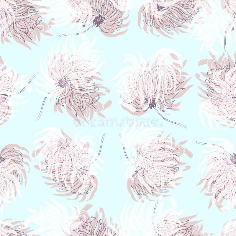 Dahlia Flower Seamless Pattern stock illustrationer