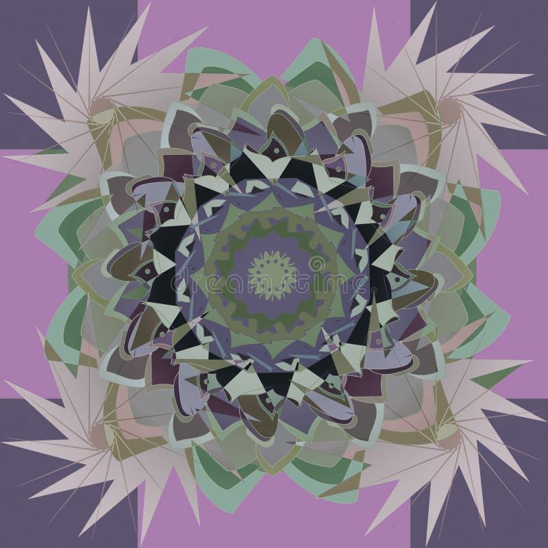 DAHLIA MANDALA BLOMMA FYRA STJÄRNOR I HÖRNEN Geometrisk purpurf?rgad bakgrund CENTRAL BLOMMA I GRÖNT, PURPURFÄRGAT OCH GRÅTT vektor illustrationer