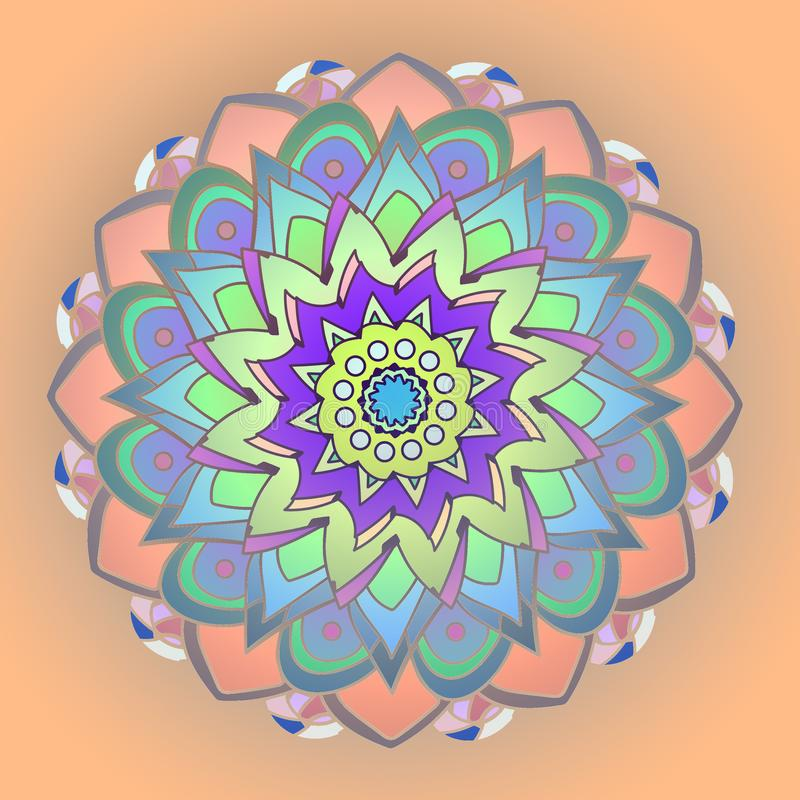 DAHLIA MANDALA FLOWER. PLAIN ORANGE BACKGROUND. PASTEL COLORS PALLET IN ORANGE, BLUE, GREEN, YELLOW, PURPLE. VINTAGE IMAGE. PLAIN ORANGE BACKGROUND. CENTRAL stock illustration