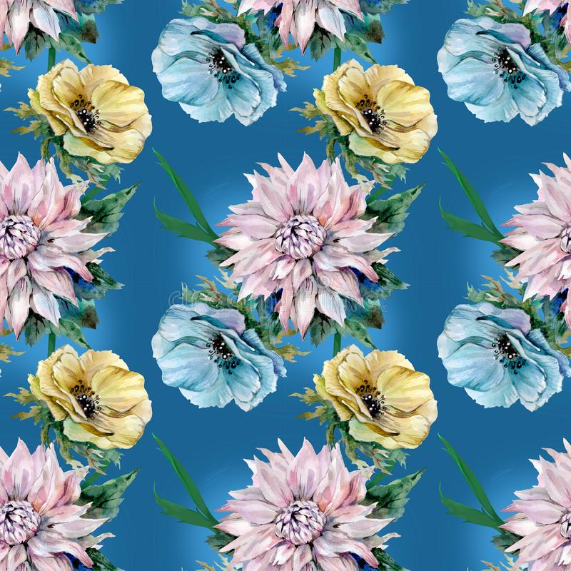 Dahlia och vallmo på blå bakgrund stock illustrationer