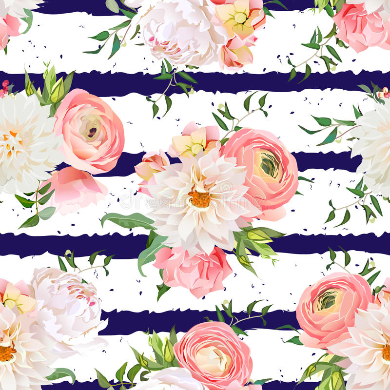 Dahlia, ranunculus, rose and peony seamless vector pattern. Navy striped and speckled print royalty free illustration