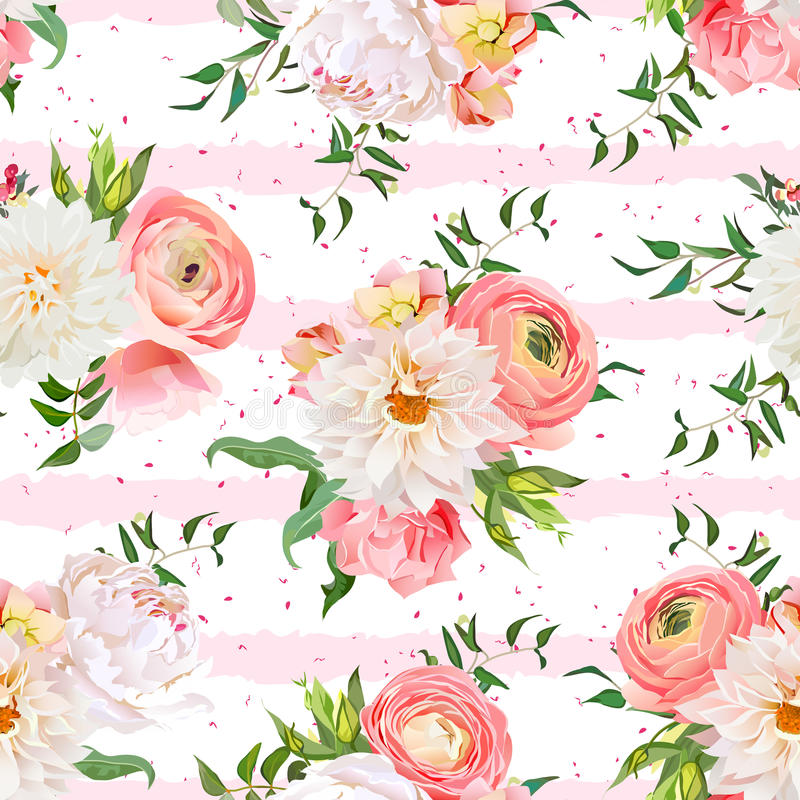 Dahlia, ranunculus, rose and peony seamless vector pattern. Romantic garden print with pink striped and speckled backdrop stock illustration