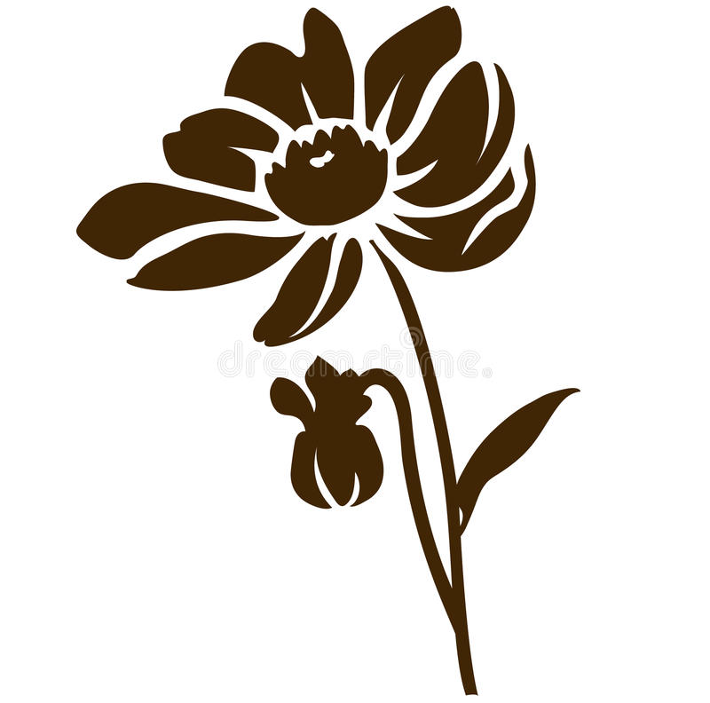 Dahlia silhouette isolated on white. Vector illustration. Decorative garden flower royalty free illustration