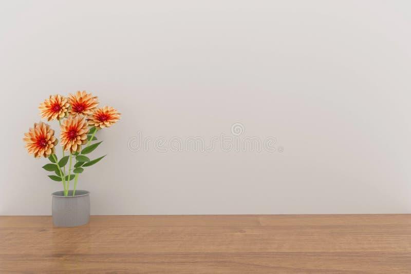 Dahliablomma i tom design för vitt rum i tolkningen 3D vektor illustrationer