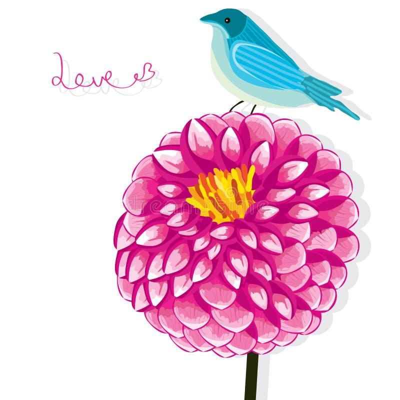 Dahliablommafågel royaltyfri illustrationer
