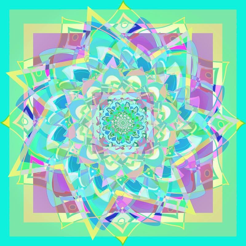 Dahliablommamandala i akvamarin, geometrisk bakgrund i den gula, gröna, purpurfärgade ljusa bilden för yogaövning, tappningstil vektor illustrationer
