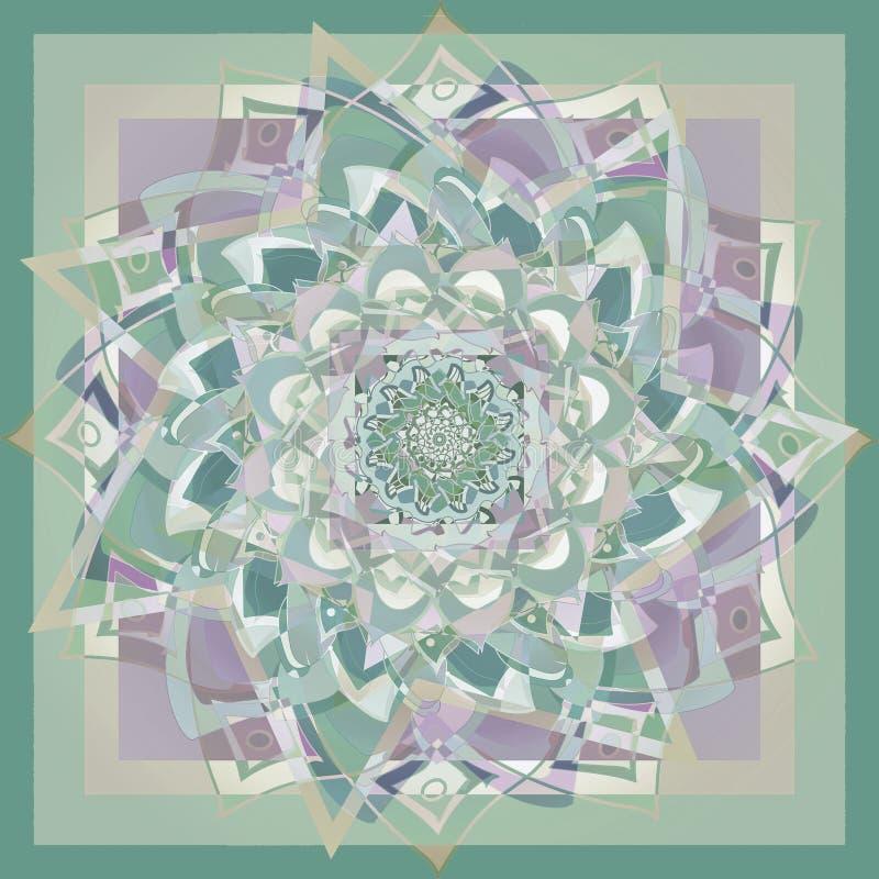 Dahliablommamandala i paletten för pastellfärgade färger, geometrisk bakgrund i grön purpurfärgat och ljust - brunt royaltyfri illustrationer