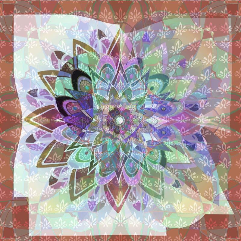 Dahliamandala Flerfärgad blomma för abstrakt elegans abstrakt bakgrund Textured avbildar stock illustrationer