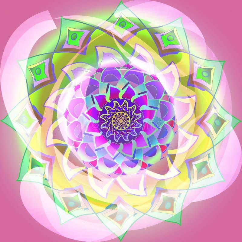 Dahliamandalablomma, cirklar, vanlig rosa bakgrund, central blomma i mjukt rosa, grönt, ljust - gräsplan, akvamarin, royaltyfri illustrationer