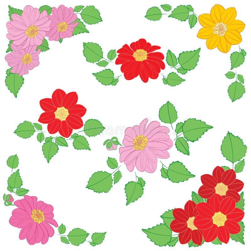 Dahlias flowers with green leaves as decorations for corners and bouquet - vector set. Dahlias flowers with green leaves as decorations for corners and bouquet stock illustration