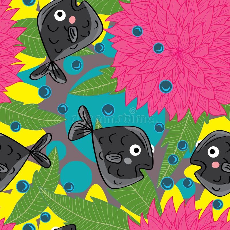 Dahlie-Butterfische nahtloses Pattern_eps stock abbildung