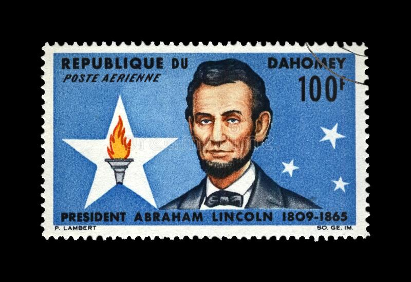 President Abraham Lincoln, famous people of America, centenary of death, Dahomey, circa 1965,. DAHOMEY - CIRCA 1965: canceled stamp printed in Dahomey shows stock photography