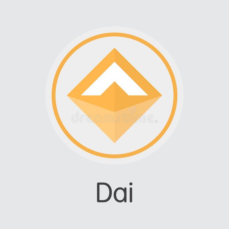 Dai Crypto Currency Vector DAI Graphic Symbol Engrana el icono stock de ilustración
