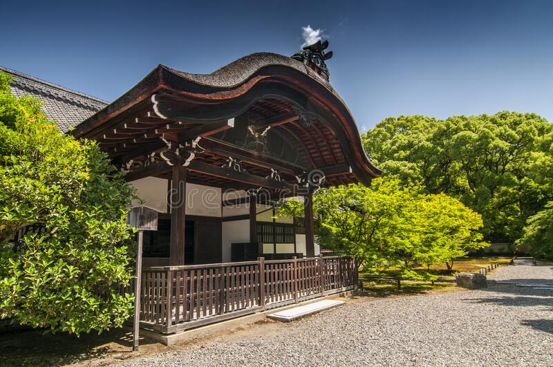 Dai Genkan Shoren in Temple known as Awata Palace contains a garden with massive old camphor trees, Kyoto, Japan.  royalty free stock photos