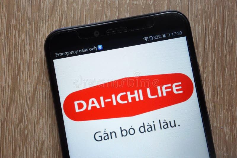 Dai-Ichi het embleem van het Levensholdings op een moderne smartphone wordt getoond die royalty-vrije stock fotografie