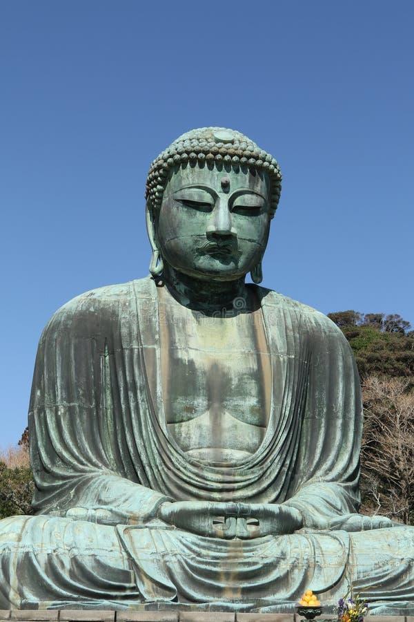 Daibutsu, het Grote standbeeld van Boedha, Japan stock afbeeldingen