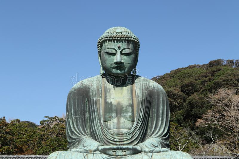 Daibutsu, het Grote standbeeld van Boedha, Japan royalty-vrije stock foto's
