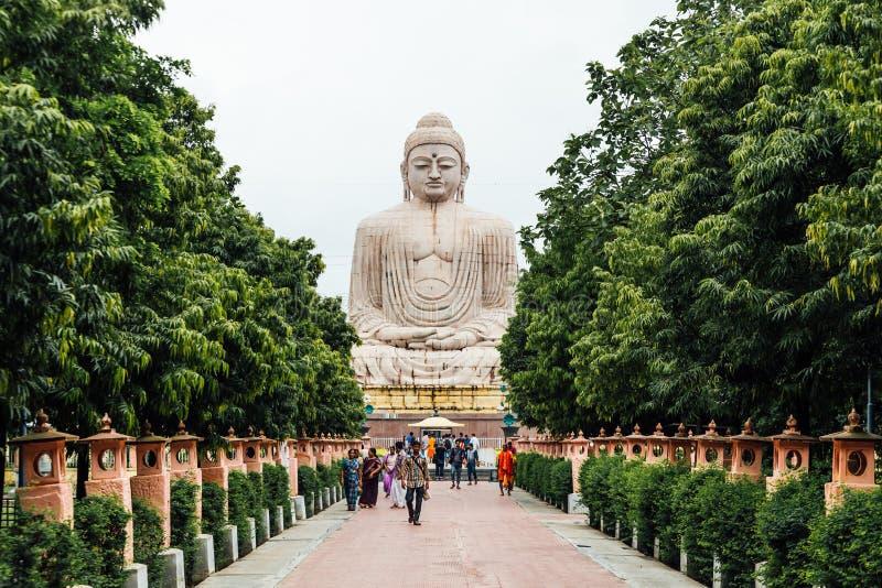 Daibutsu, het Grote Standbeeld van Boedha in meditatie stelt of Dhyana Mudra gezet op een lotusbloem in openlucht met bomen in vo royalty-vrije stock fotografie