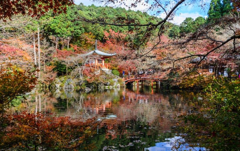 Daigo-ji tempel med höstfärg av lönnträd, Japan arkivfoton