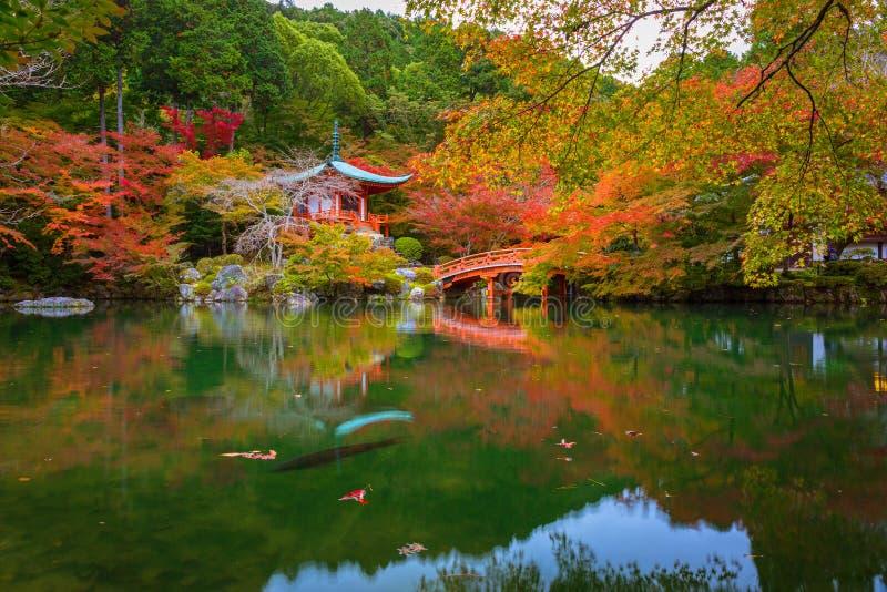 Daigo-jitempel mit bunten Ahornbäumen im Herbst, Kyoto lizenzfreies stockbild