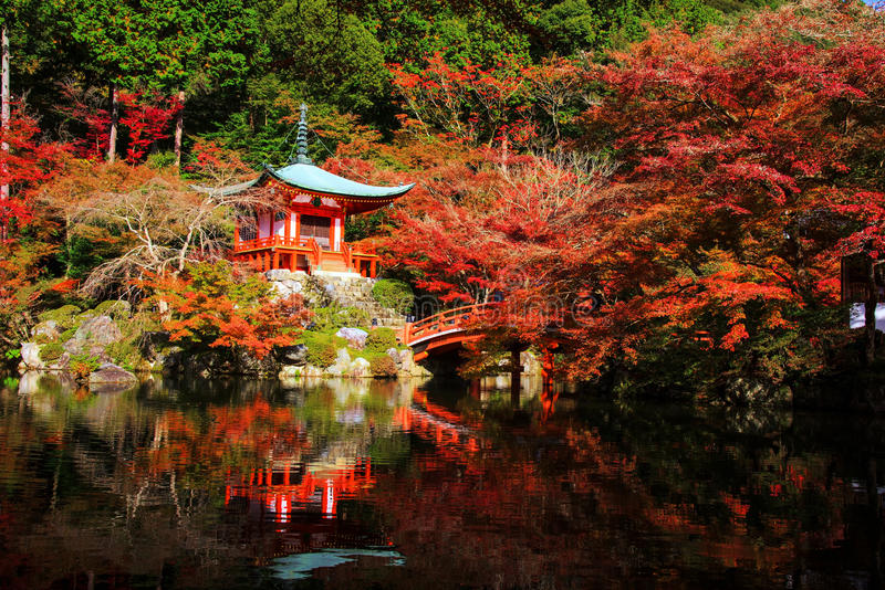 Daigoji at autumn, Kyoto stock images