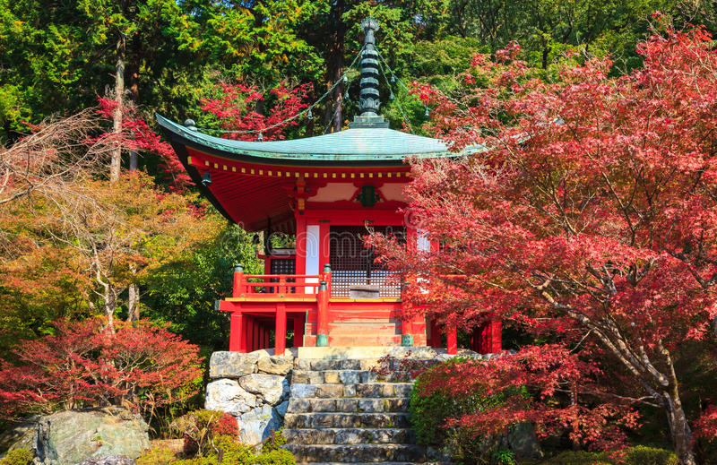 Daigoji tempel i höst, Kyoto, Japan arkivfoto