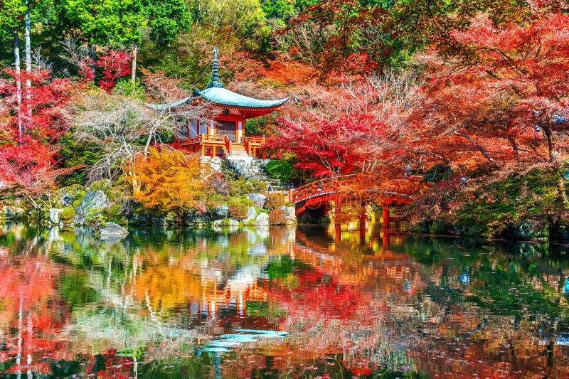 Daigoji tempel i höst, Kyoto Japan höstsäsonger royaltyfri fotografi