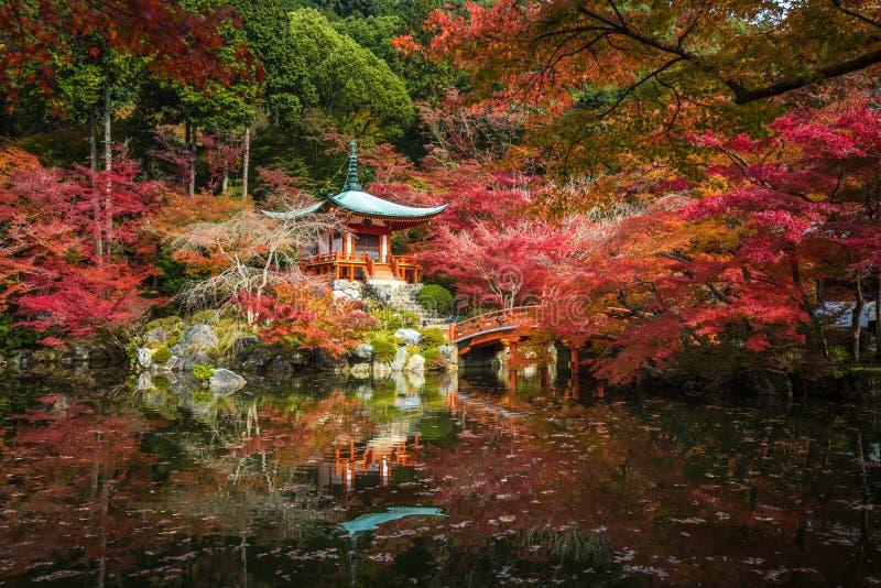 Daigoji tempel i lönnträd, momijisäsong, Kyoto, Japan royaltyfri bild