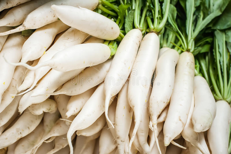 Daikon radish vegetables at asian market stock photography