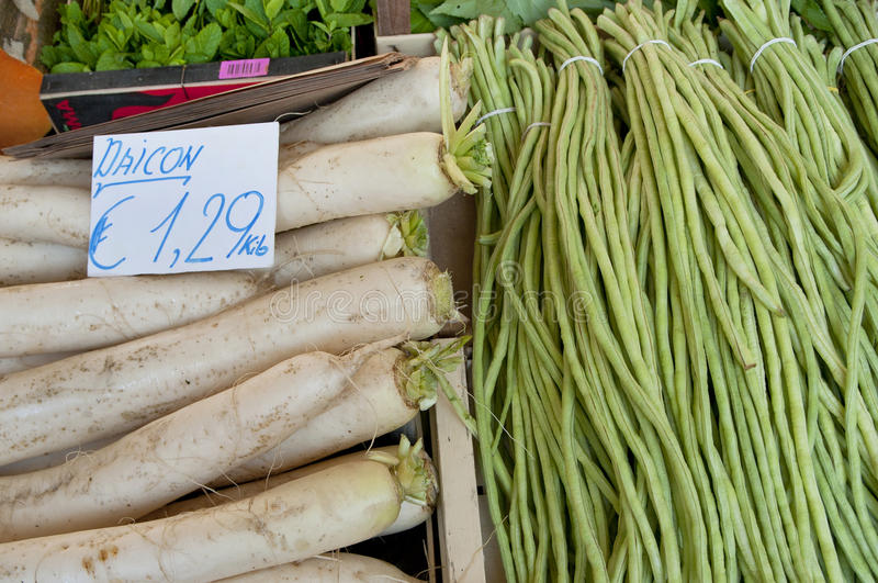 Daikon and String Beans royalty free stock photos
