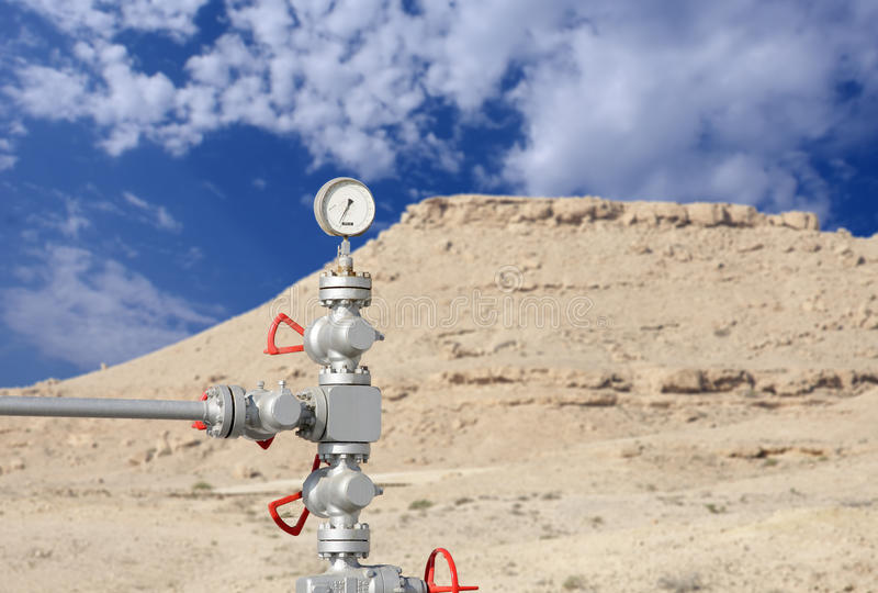 Dail gauge on first oil well at bahrain stock photo