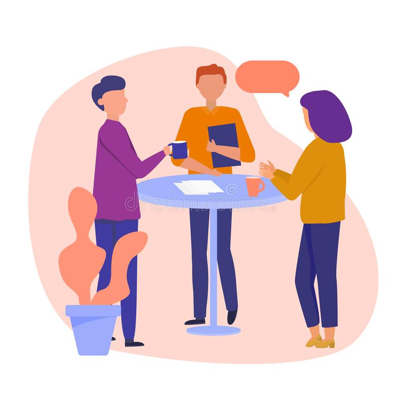 Free Daily Scrum Or Stand-up Scrum With Development Team, Scrum Master, And Product Owner. Setting Up Prioritized Worklist. Vector Stock Image - 166296621