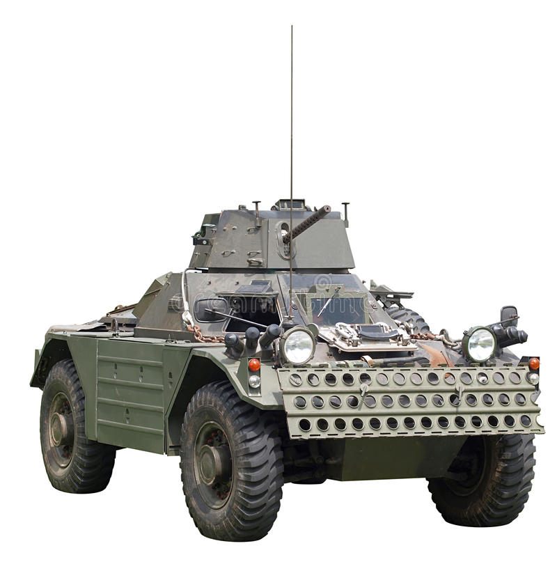 Daimler Ferret Scout Armoured Car. Isolated on white stock image