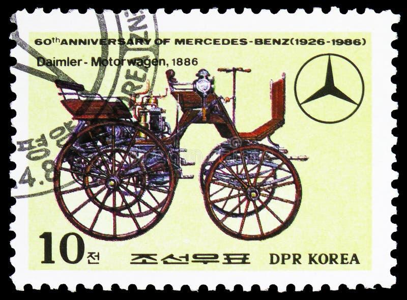 Daimler-Motorwagen, 1886, 60. Jahrestag von Mercedes-Benz-serie, circa 1986 lizenzfreies stockbild