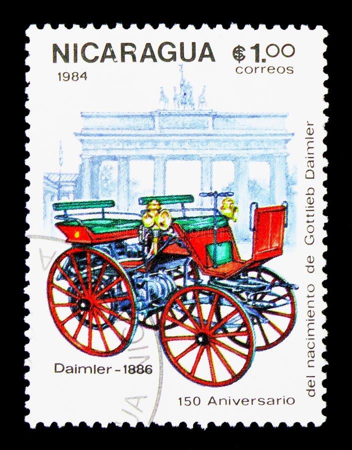 Daimler-1886, 150th годовщина рождения Gottlieb Daimler стоковое изображение rf