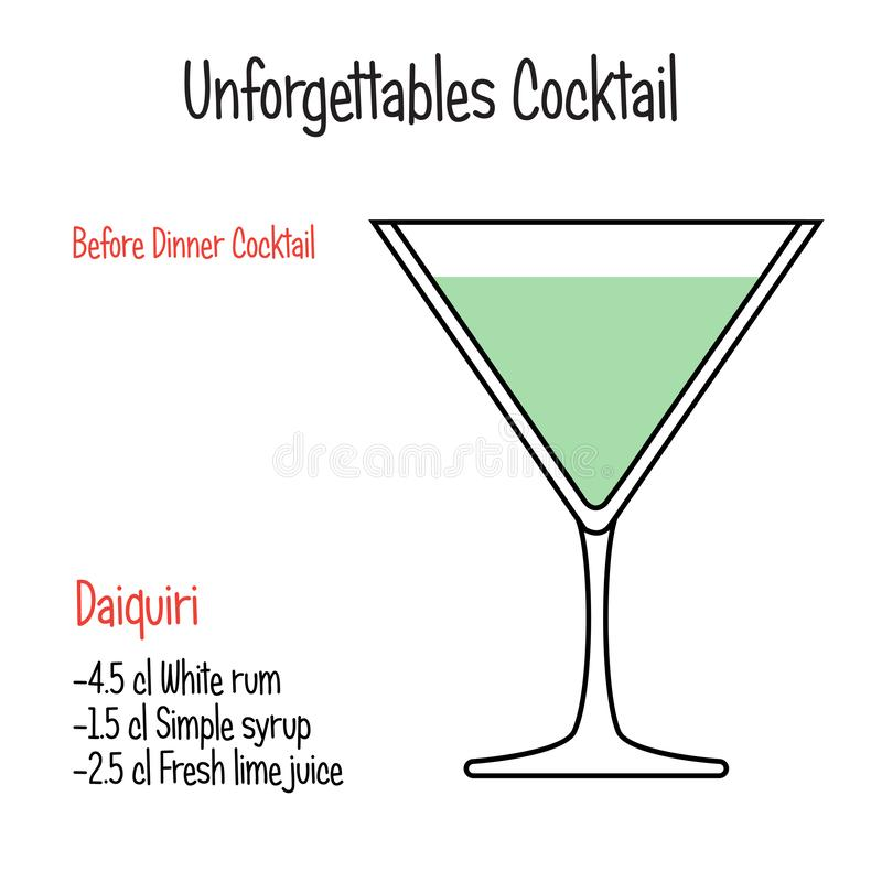 Daiquiri alcoholic cocktail vector illustration recipe isolated. Hand drawn alcoholic drinks, Daiquiri alcoholic cocktail vector illustration recipe . Bartender stock illustration
