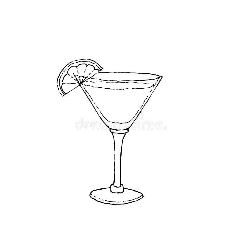 Daiquiri koktajlu Cyfrowego rysunkowa wektorowa ilustracja Szkło na białym odosobnionym tle royalty ilustracja