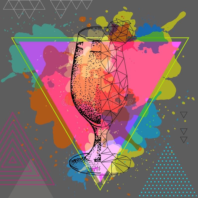 Download Daiquiri Van De Hipster Realistische En Veelhoekige Cocktail Op Waterverfachtergrond Vector Illustratie - Illustratie bestaande uit ontwerp, illustratie: 114225264